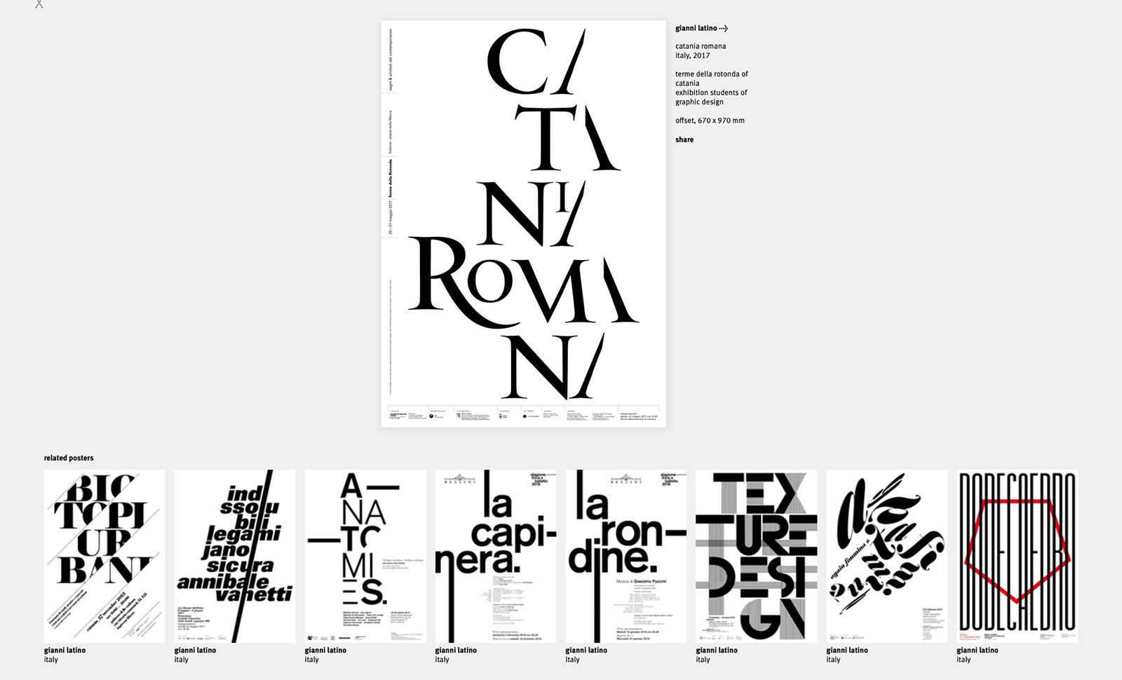 Pagina personale dedicata al designer Gianni Latino e ai poster presenti sulla piattaforma, 2019